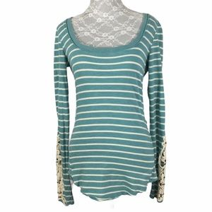 Free People Blue Striped Crochet Sleeves Top
